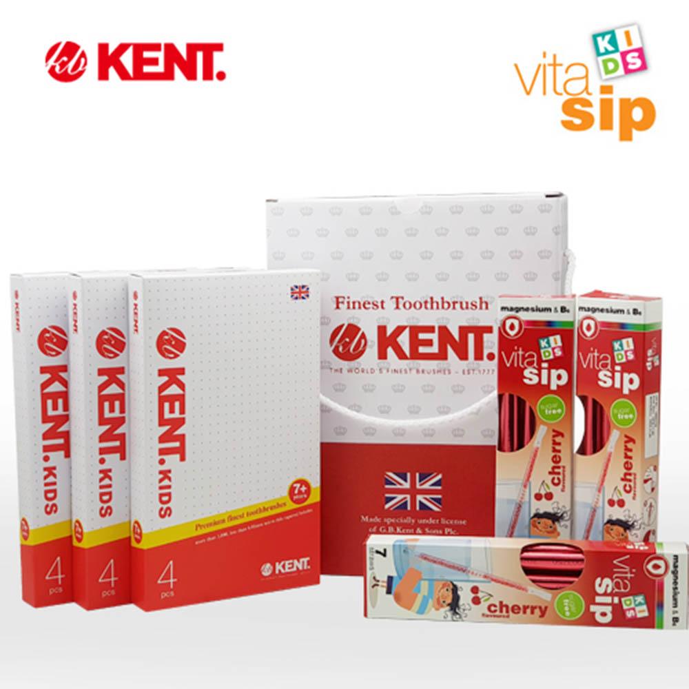 켄트&비타십 어린이 위생건강 15p세트 - skvs01 (키즈 칫솔 12p + 비타십 어린이 비타민 3p)
