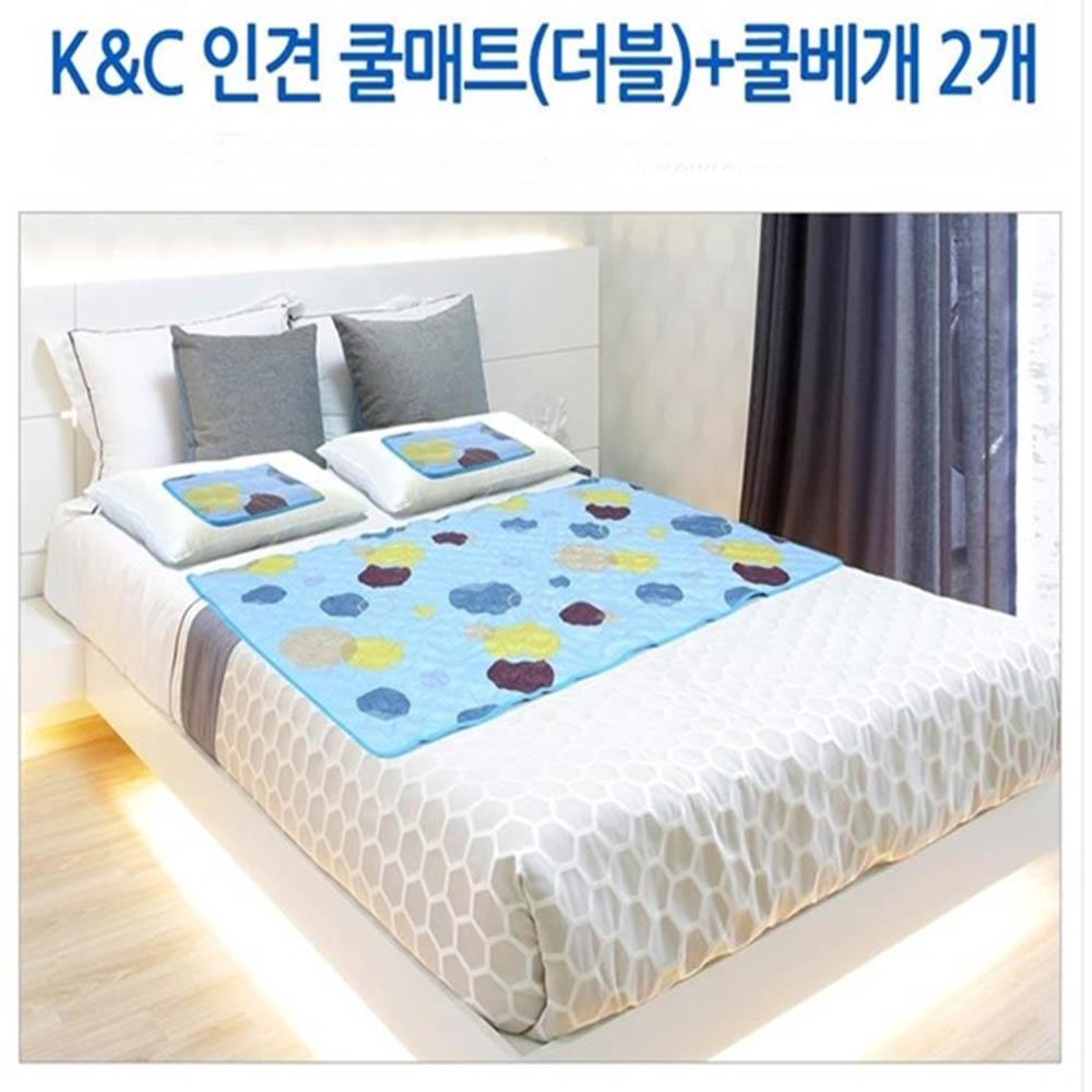자연섬유-인견원단 쿨매트 더블 베개 2개포함