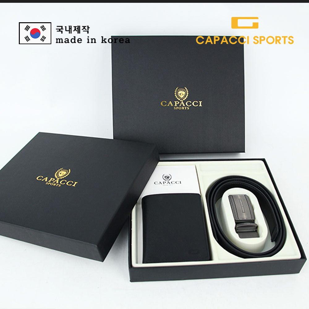 가파치스포츠 더블랙 천연소가죽 지갑벨트세트 6종 중 선택 (세트케이스 배송 / CPSB-SET)