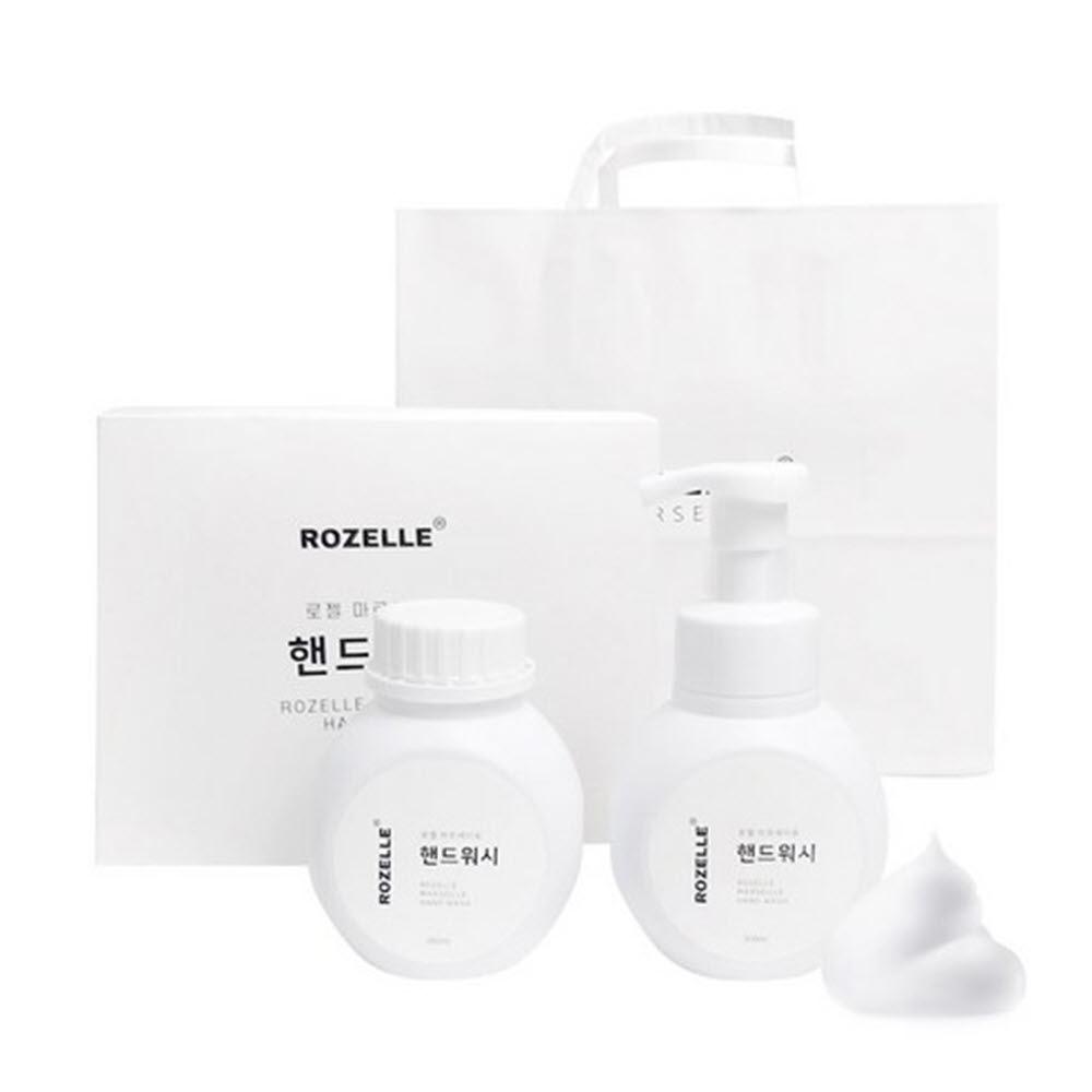 로젤 마르세이유 핸드워시 300ml 거품펌프용기 + 리필용 용기 300ml(포장케이스+ 쇼핑백)