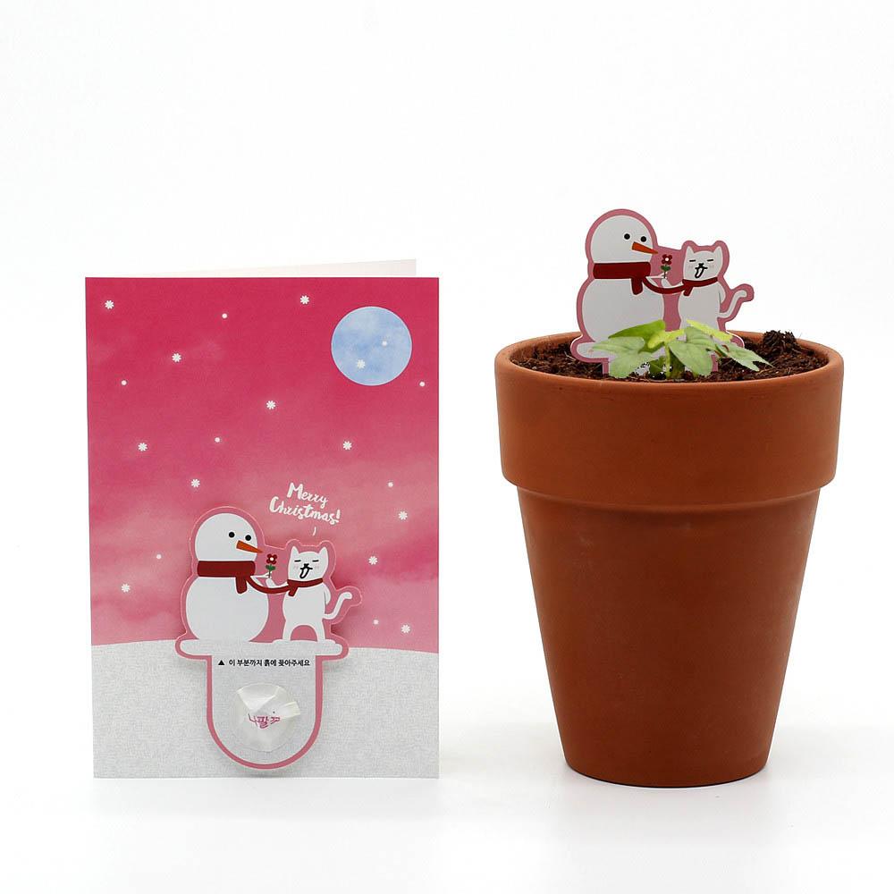 크리스마스 씨앗카드 눈사람(나팔꽃)