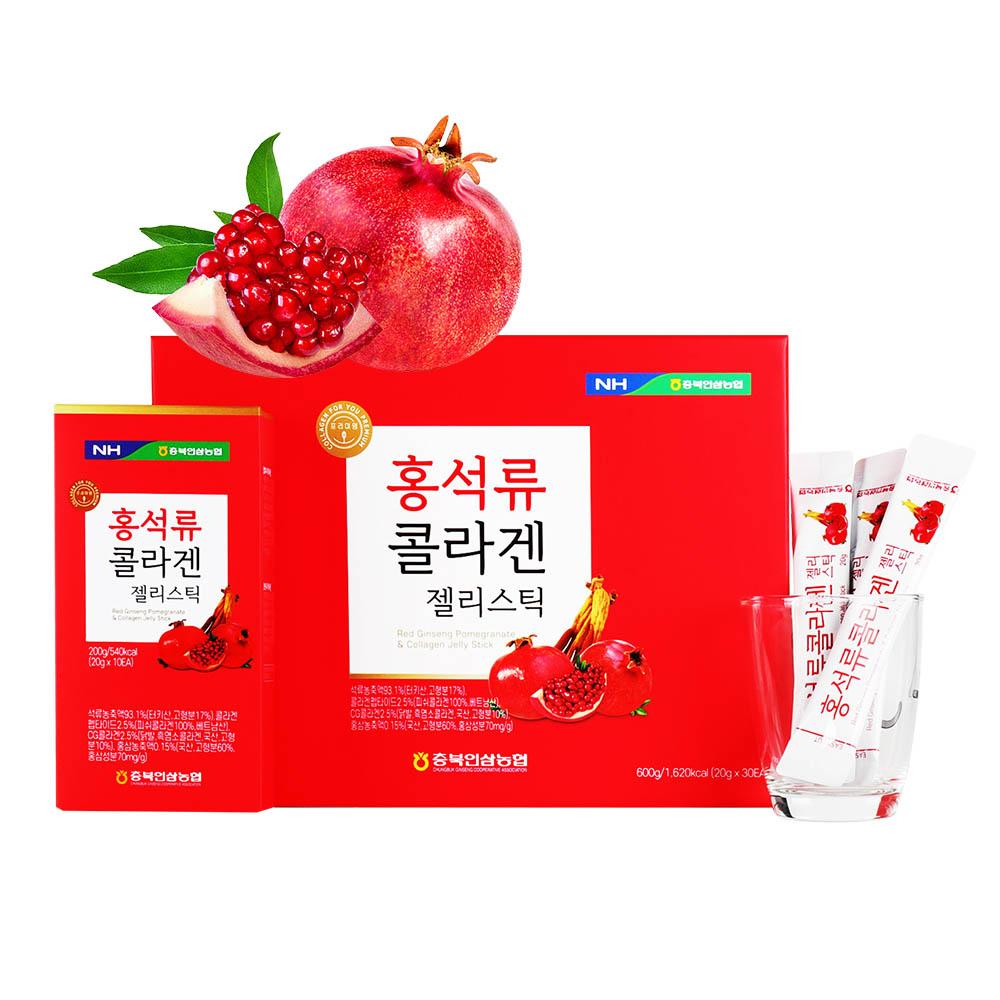 충북인삼농협 홍석류콜라겐젤리스틱 20g x 30포+선물용 쇼핑백 포함