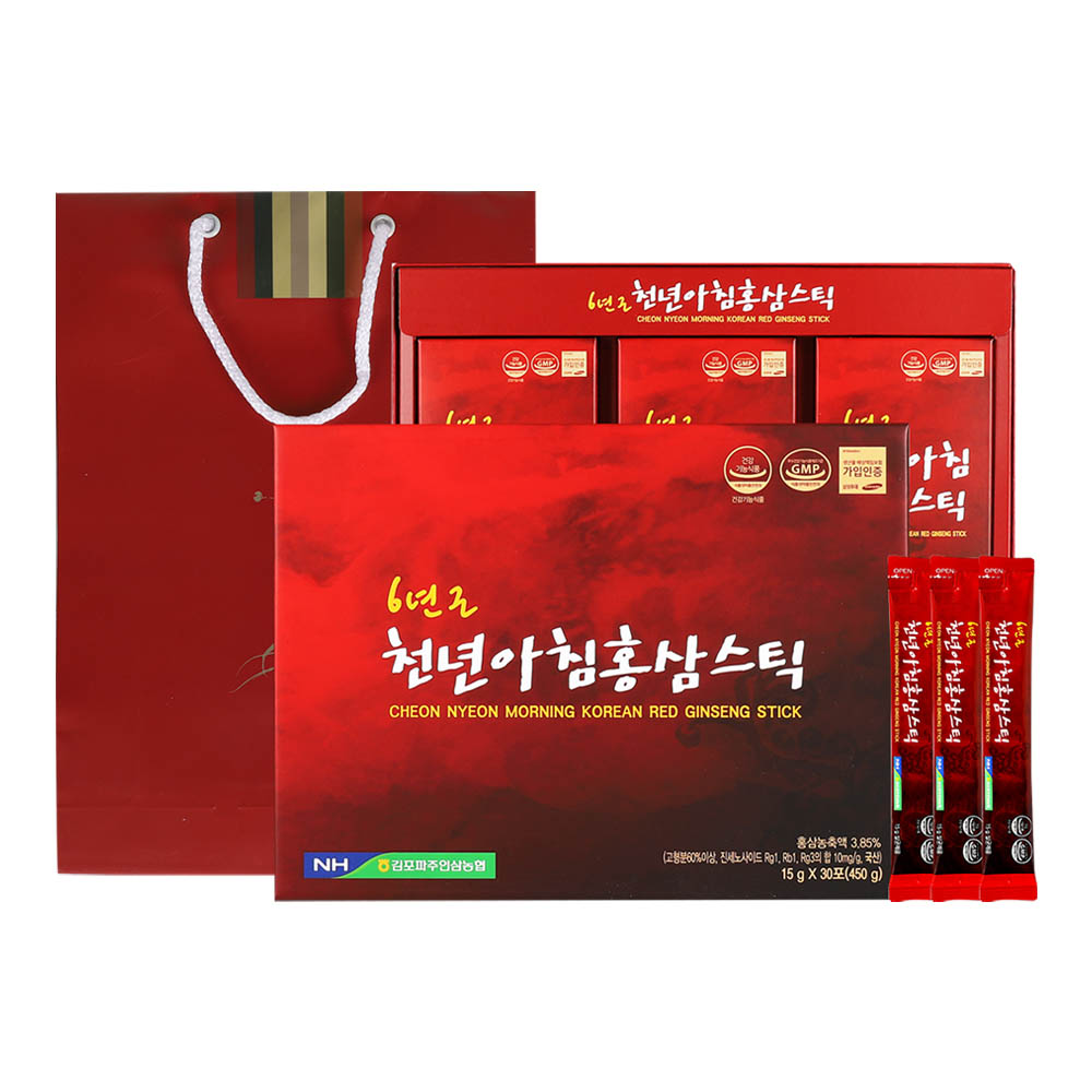 김포파주인삼농협 6년근 천년아침홍삼스틱 15g x 30포 +선물용 쇼핑백 포함