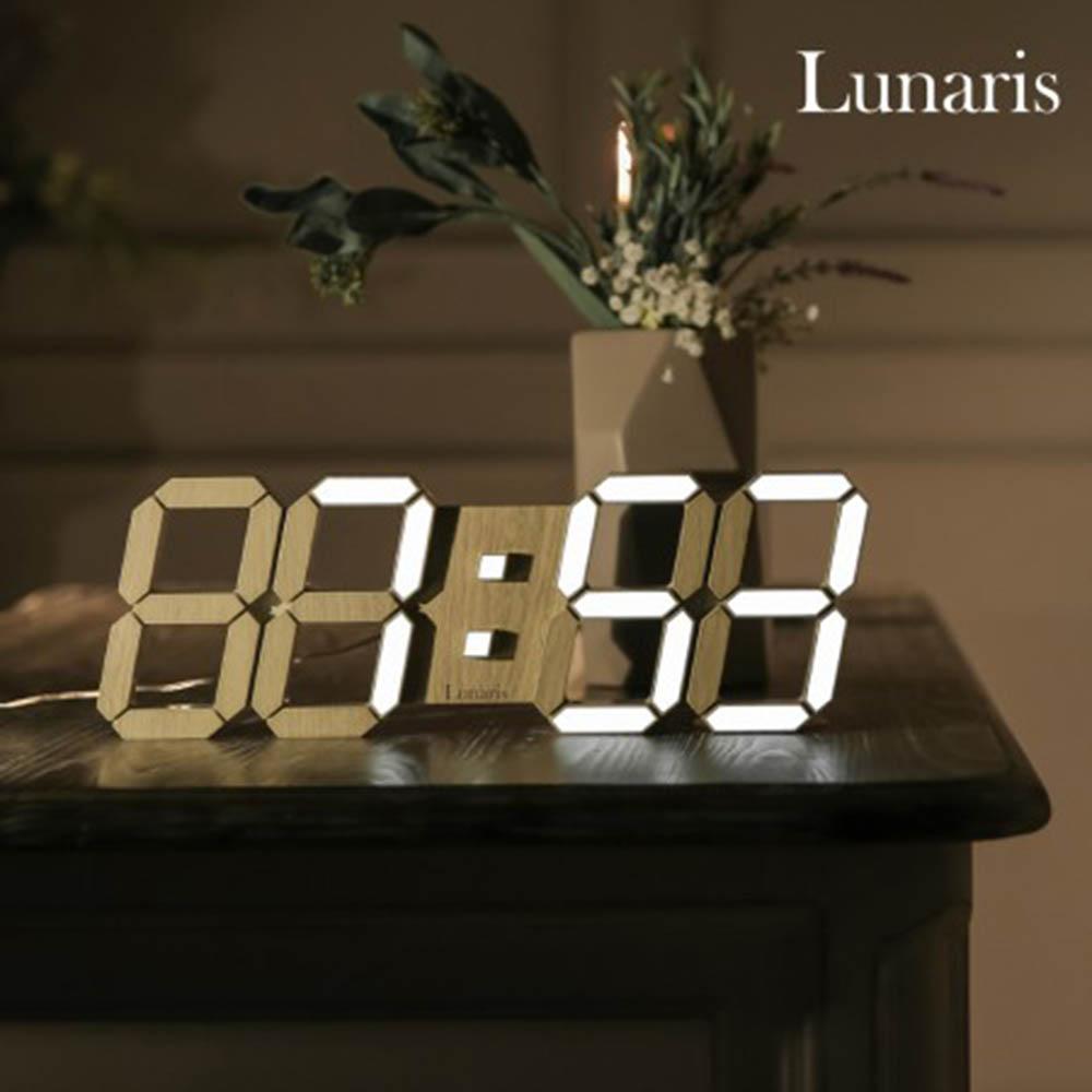 국산 루나리스 3D LED 인테리어 벽시계 LG전구 38cm 우드에디션