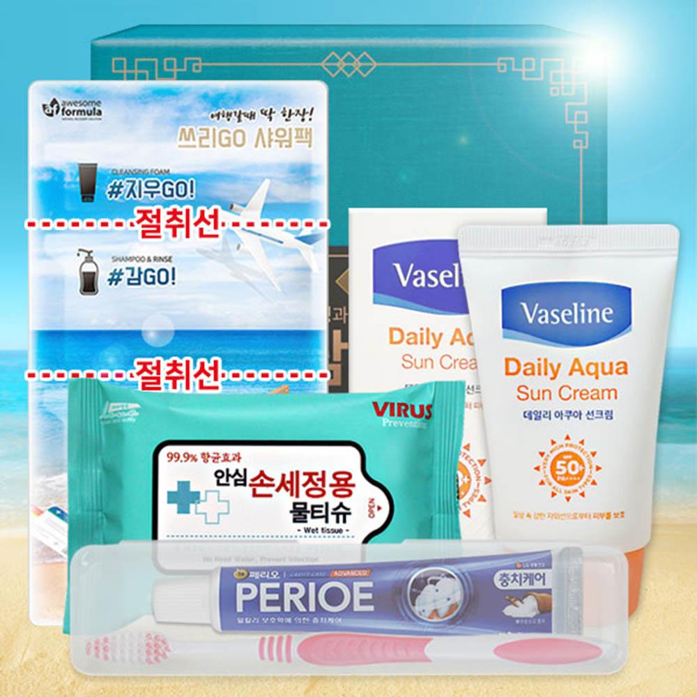 여름휴가세트B(투명페리오치약칫솔세트+샤워팩+바세린선크림+손세정용물티슈20매)