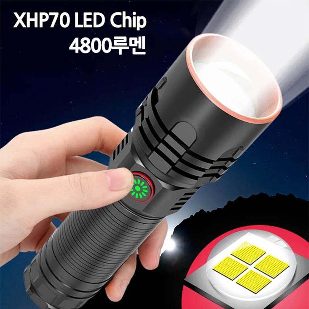 LED 줌 라이트 충전식 손전등 후레쉬 XHP70칩 4800루멘 P349
