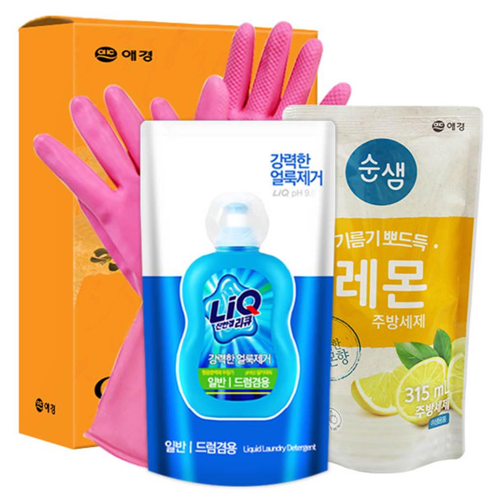 애경 리큐 순샘레몬315리필 비닐고무장갑32cm(3종)