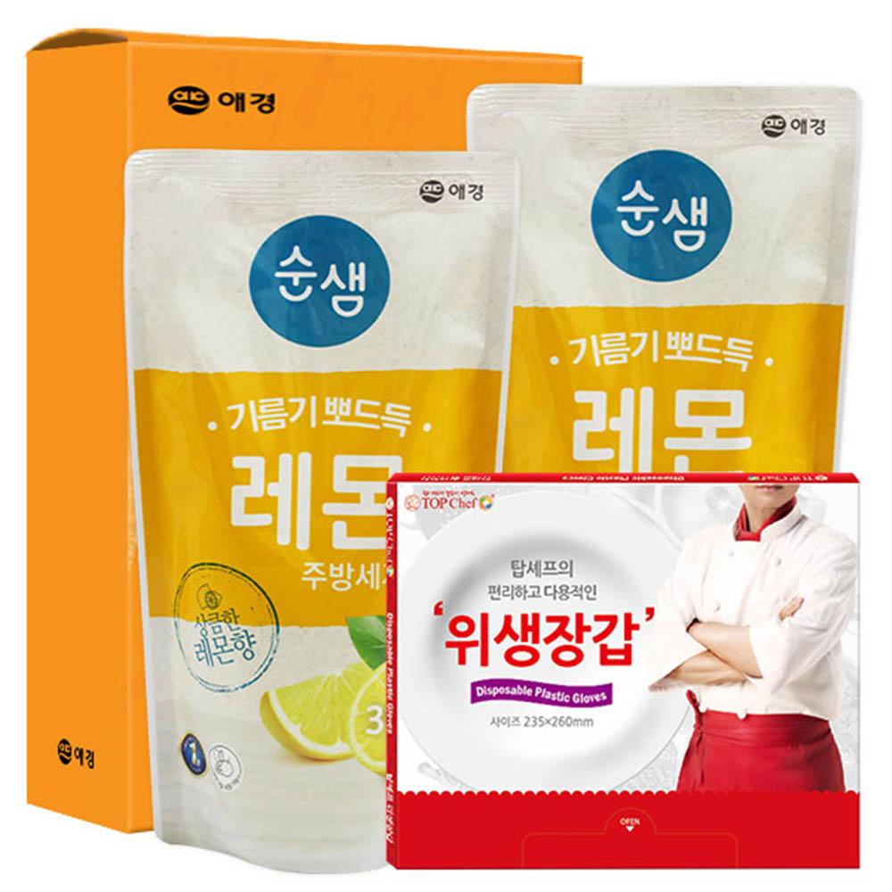 애경 순샘레몬315리필2P 정사각위생장갑(3종)