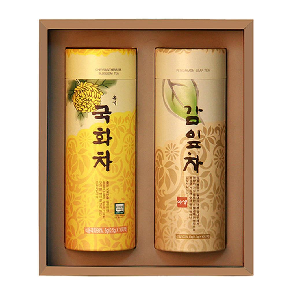 [M22-213]대한민국 식품명인 제54호_서민수 차(茶)명인 국화, 감잎 삼각차 선물세트