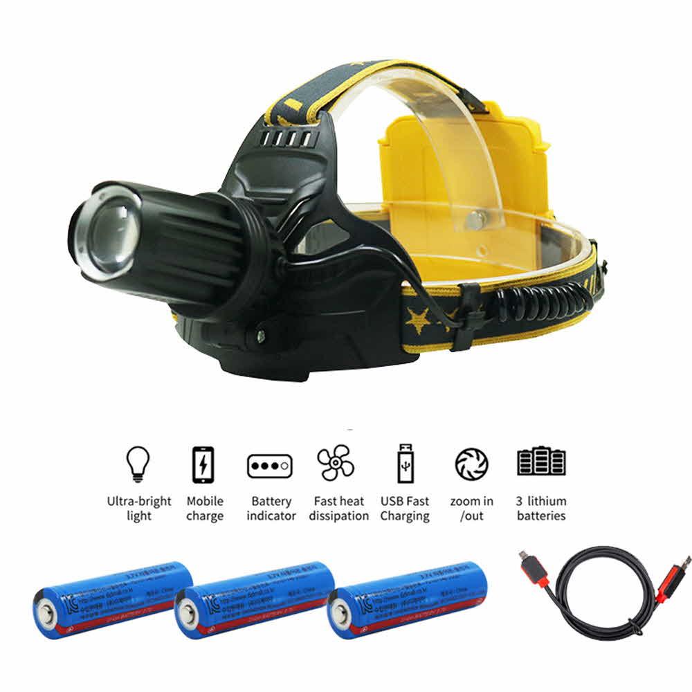 LED 충전식 줌 낚시 해루질 랜턴 헤등랜턴 XHP70.2칩 4900루멘 W643 아X