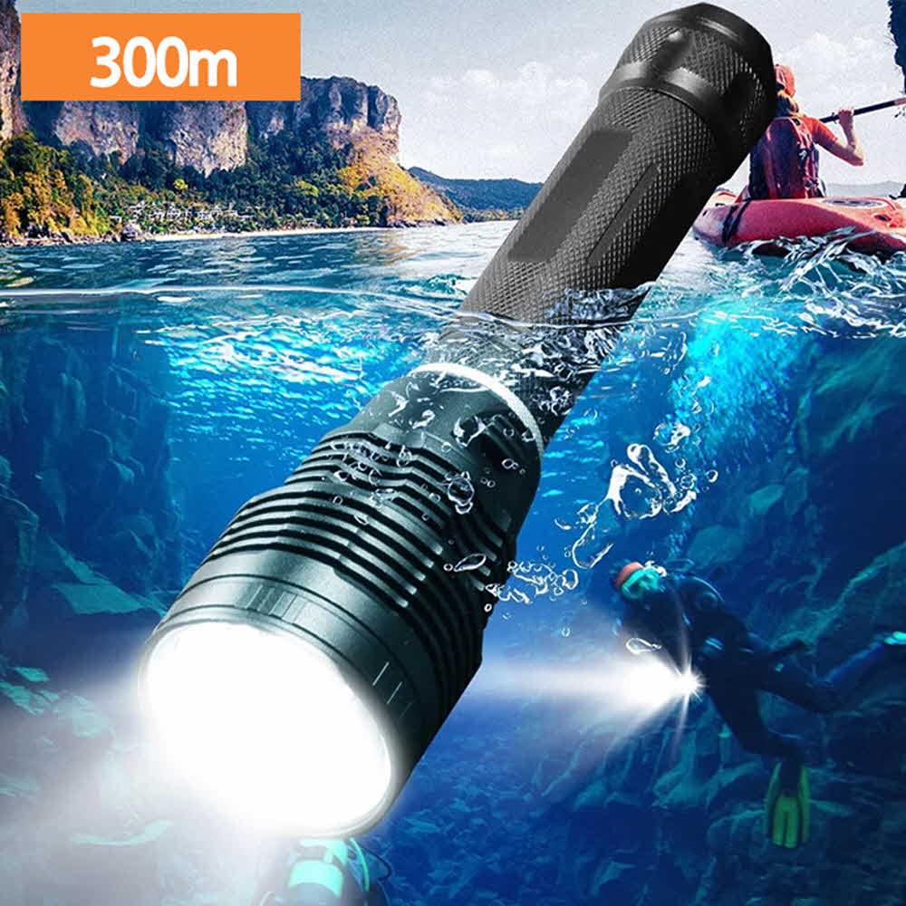 XHP70.2칩 LED 손전등 후레쉬 방수 수중 랜턴 보호밧 2구충전기 케이블 아X