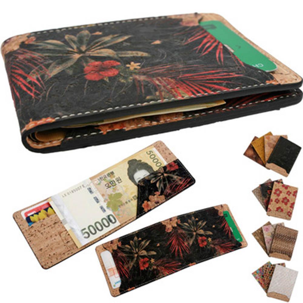 롱 슬림 카드지폐 접이지갑_나무껍질 Itay cork 식물가죽 C200714