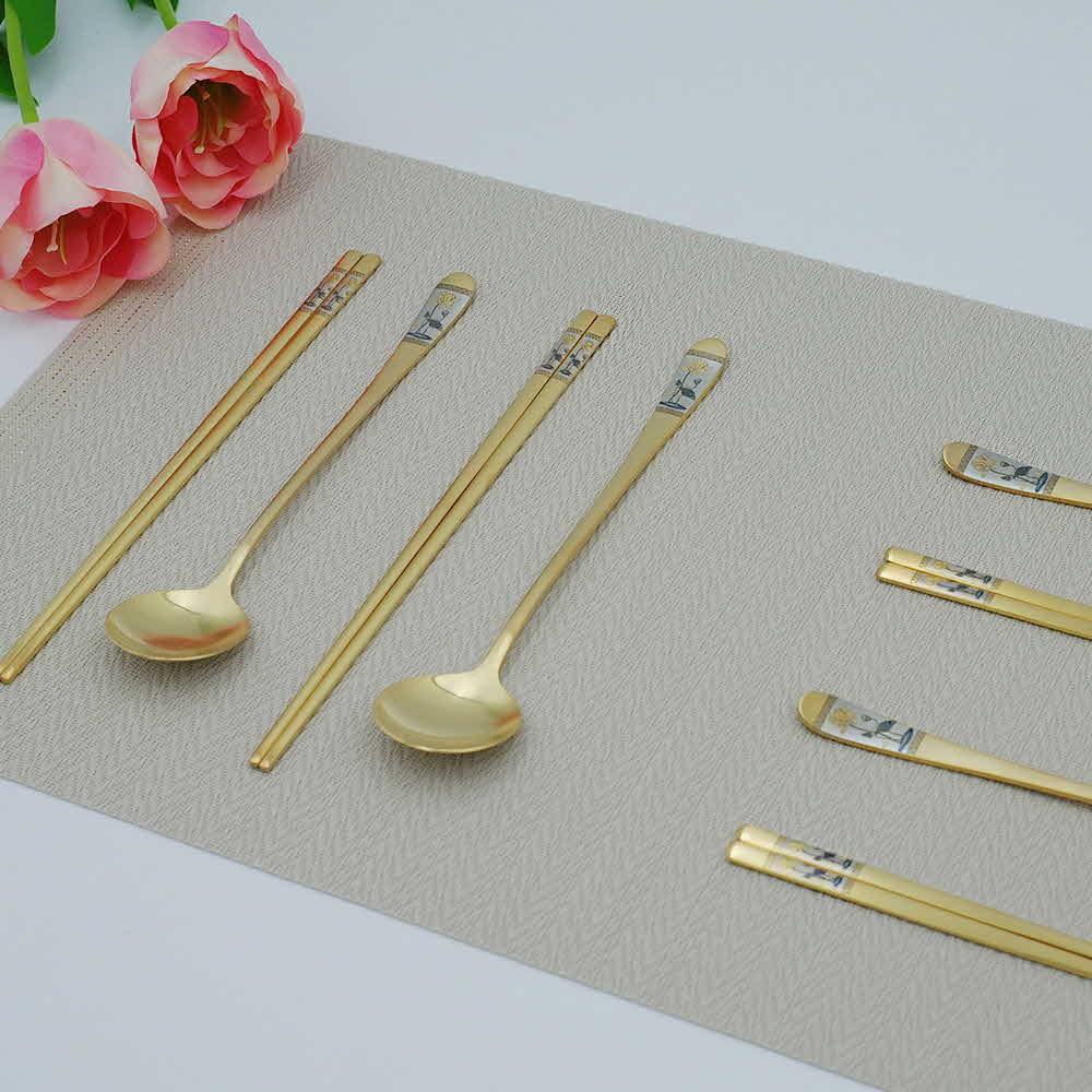 골드문 연꽃 금수저 4인가족 선물세트(24K 금도금)