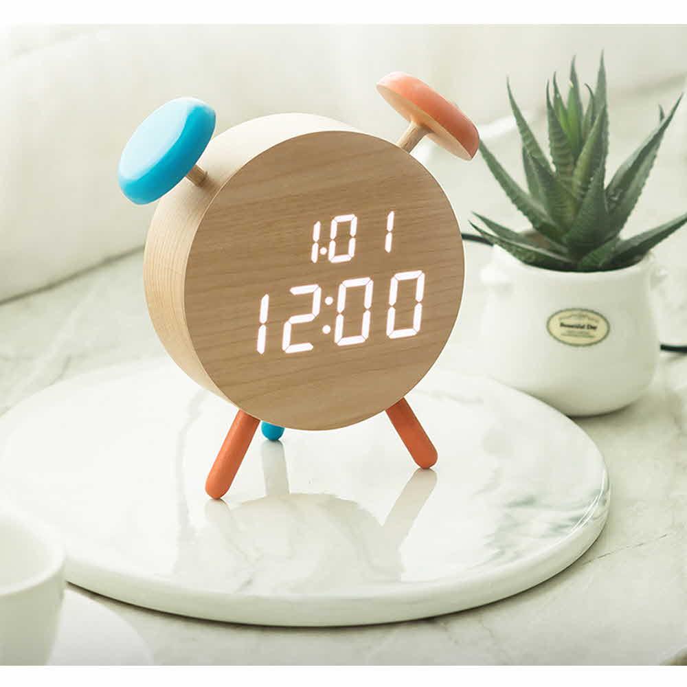 플라이토 우드 벨클락 LED 탁상시계-메이플