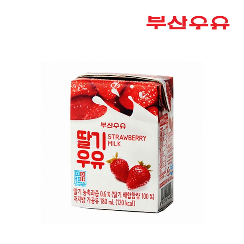 부산우유 딸기멸균우유180ml x 24팩