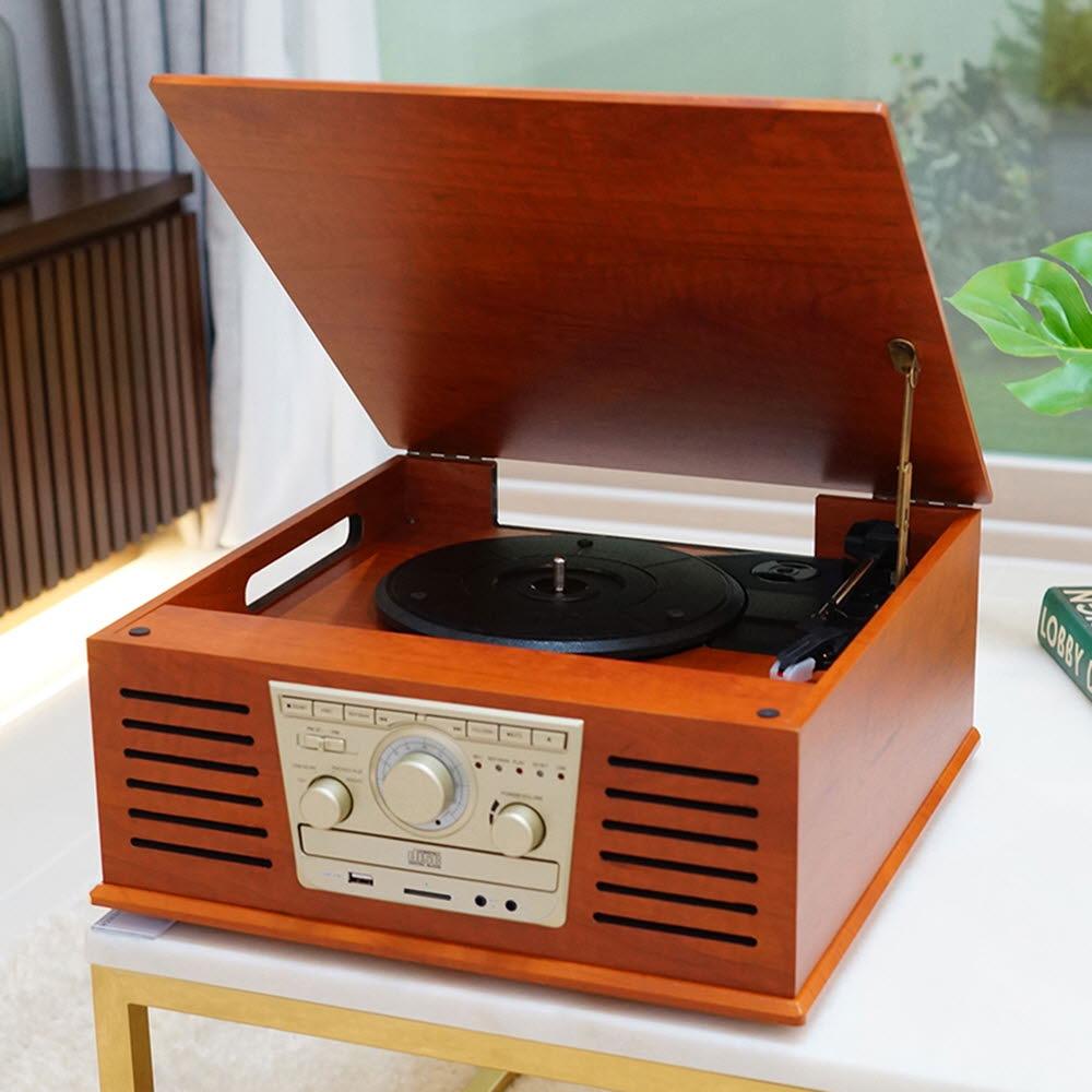 휴라이즈 올인원 Sound System (턴테이블+CD+블루투스+라디오+AUX+USB+SD카드) HR-TS100