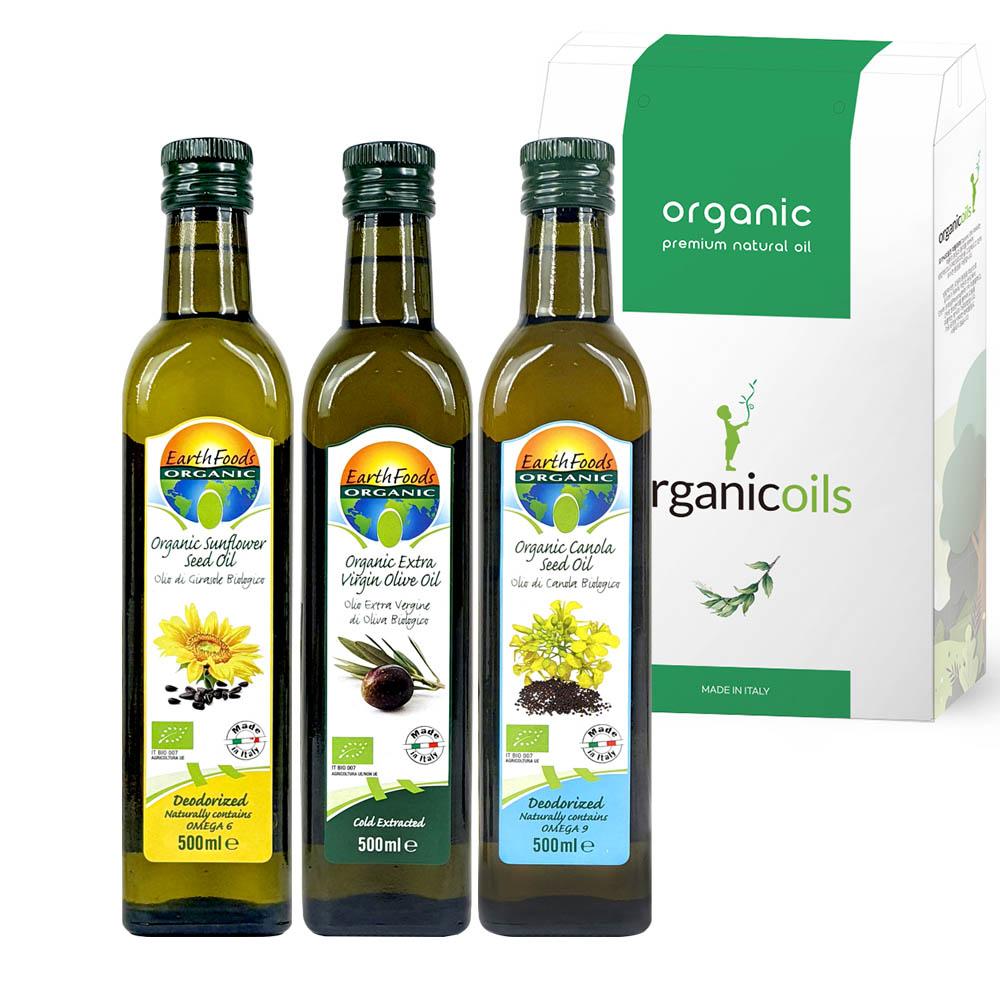 오가닉오일스 유기농 오일 선물세트 올리브유500ml+해바라기씨유500ml+카놀라유500ml(선물박스포함)