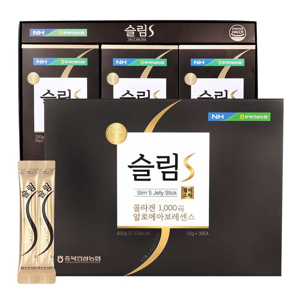 충북인삼농협 슬림 S 콜라겐 젤리스틱 20g x 30개(쇼핑백 포함)