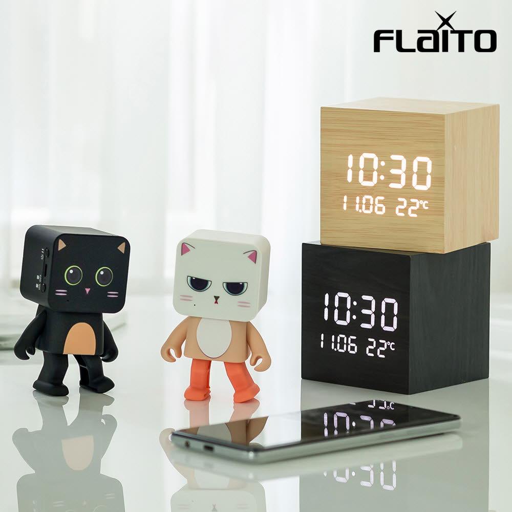 플라이토 큐브 플러스 LED 탁상시계 + 댄싱스피커 세트