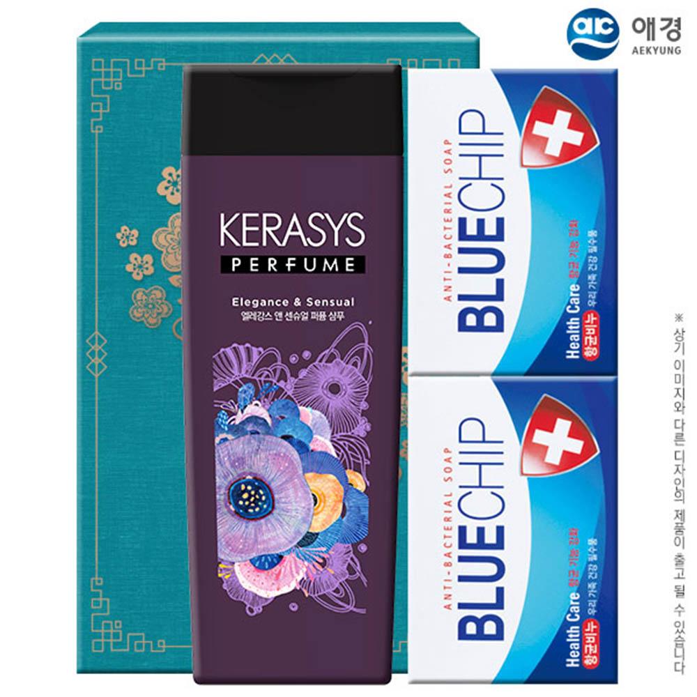 애경 케라시스퍼퓸샴푸200용기 블루칩비누2P(3종)