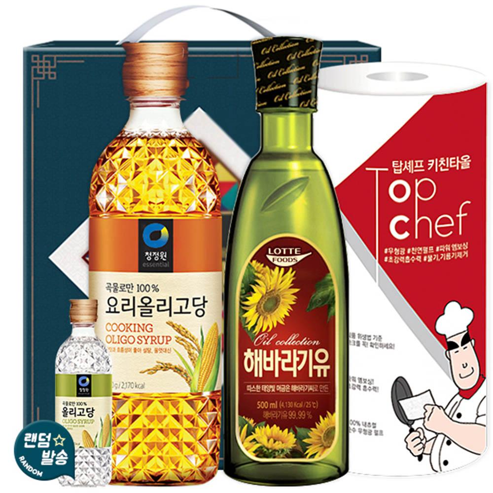 청정원 올리고당700 롯데해바라기유 키친타올(3종)