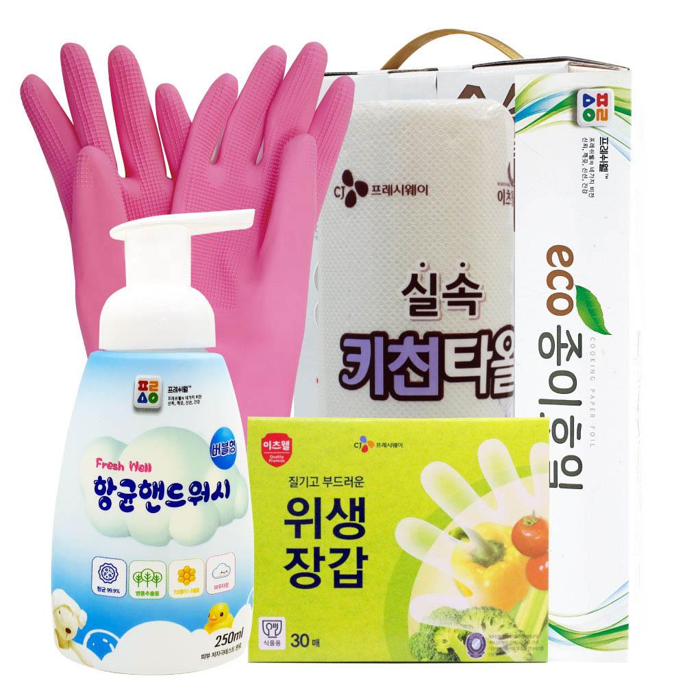 CJ고무장갑,위생장갑,핸드워시,키친타올,종이호일 5종세트