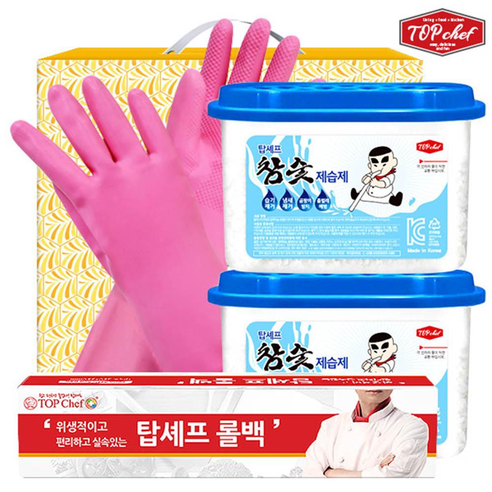 탑셰프 롤백100매 비닐고무장갑32cm 참숯제습제2P(4종)