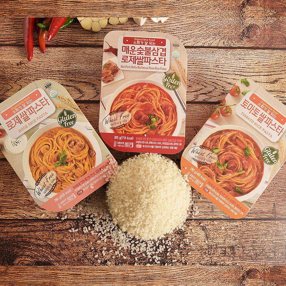 국내산 100% 쌀로만든 쌀파스타 3종 (토마토,로제,매운숯불삼겹)