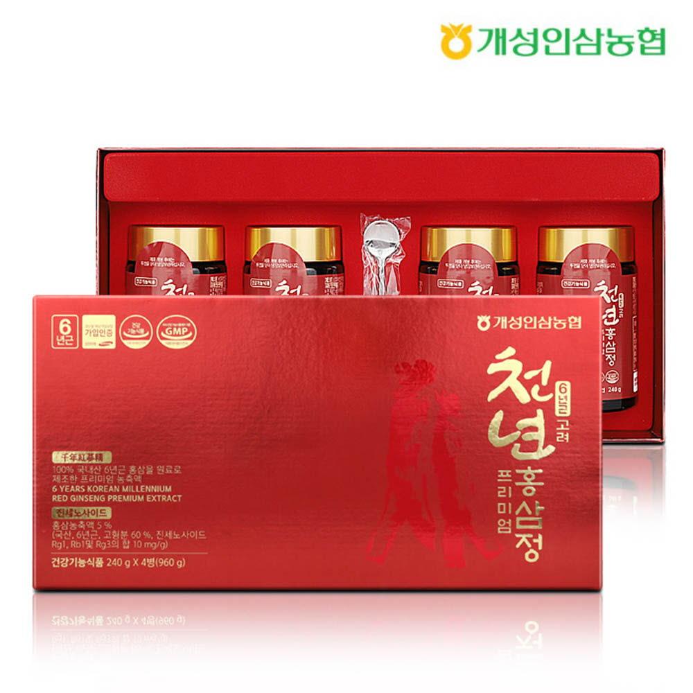 개성인삼농협 고려홍삼정 프리미엄(4P) 240g x 4병, 쇼핑백