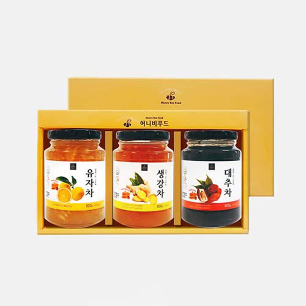 [허니비푸드] 꿀을 그린사람들 건강차 3종세트_유자차500g+생강차500g+대추차500g
