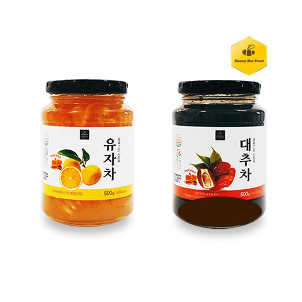 [허니비푸드] 꿀을 그린사람들 건강차 2종 B세트_유자차500g+대추차500g