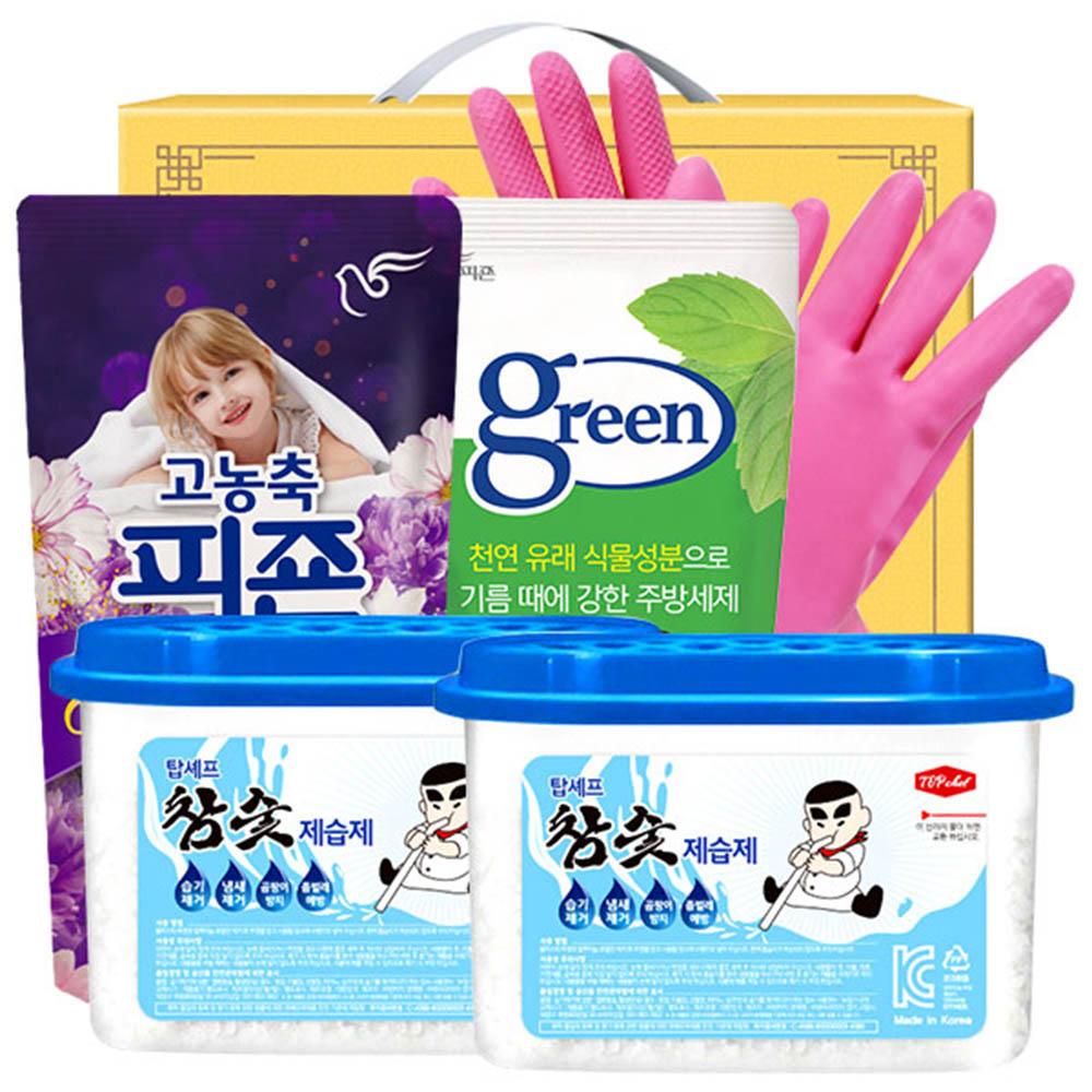 피죤 그린주방세제 비닐고무장갑32cm 참숯제습제2P(5종)