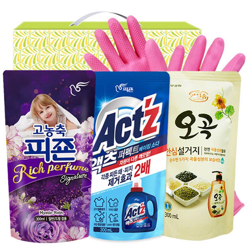 피죤 액츠 오곡안심설거지 비닐고무장갑32cm(4종)