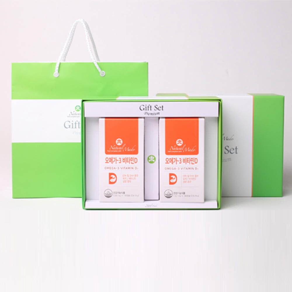 네츄럴메이드 오메가 선물세트 [오메가3 비타민D (180캡슐x2병)] /쇼핑백