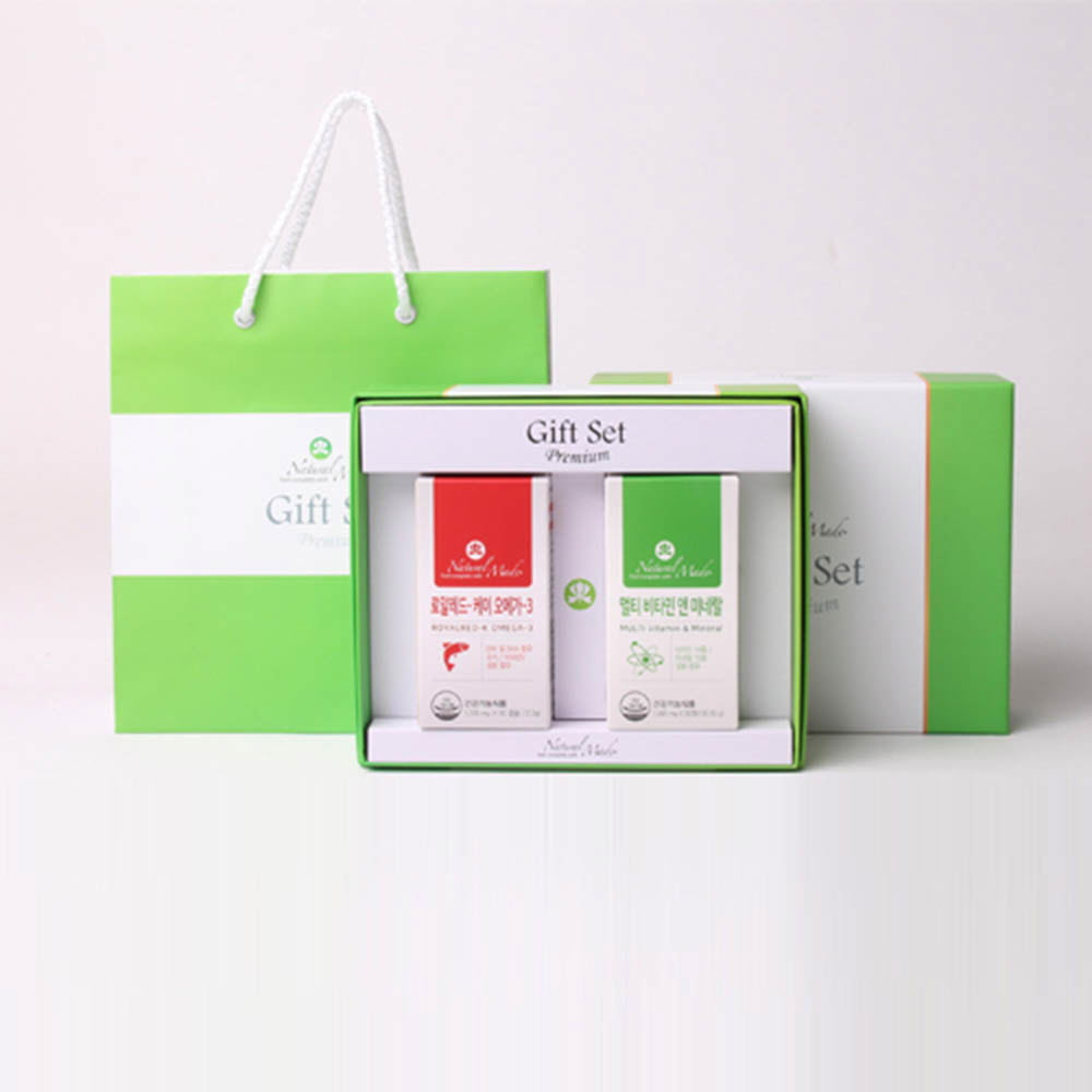 네츄럴메이드 남성용 선물세트 2호 [레드-K 오메가3 (60캡슐)+멀티비타민 미네랄 (90정)] /쇼핑백