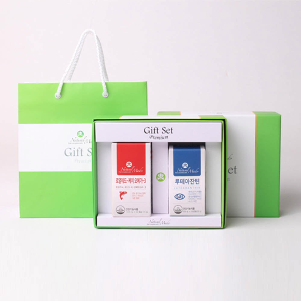네츄럴메이드 오메가3+눈건강 선물세트 1호 [레드-K 오메가3 (60캡슐)+루테아잔틴 (60캡슐)] /쇼핑백