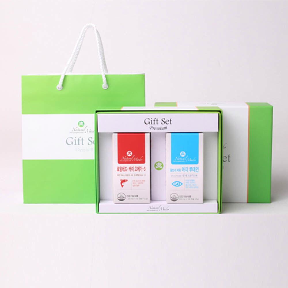 네츄럴메이드 오메가3+눈건강 선물세트 2호 [레드-K 오메가3 (60캡슐)+아이루테인 (90캡슐)] /쇼핑백