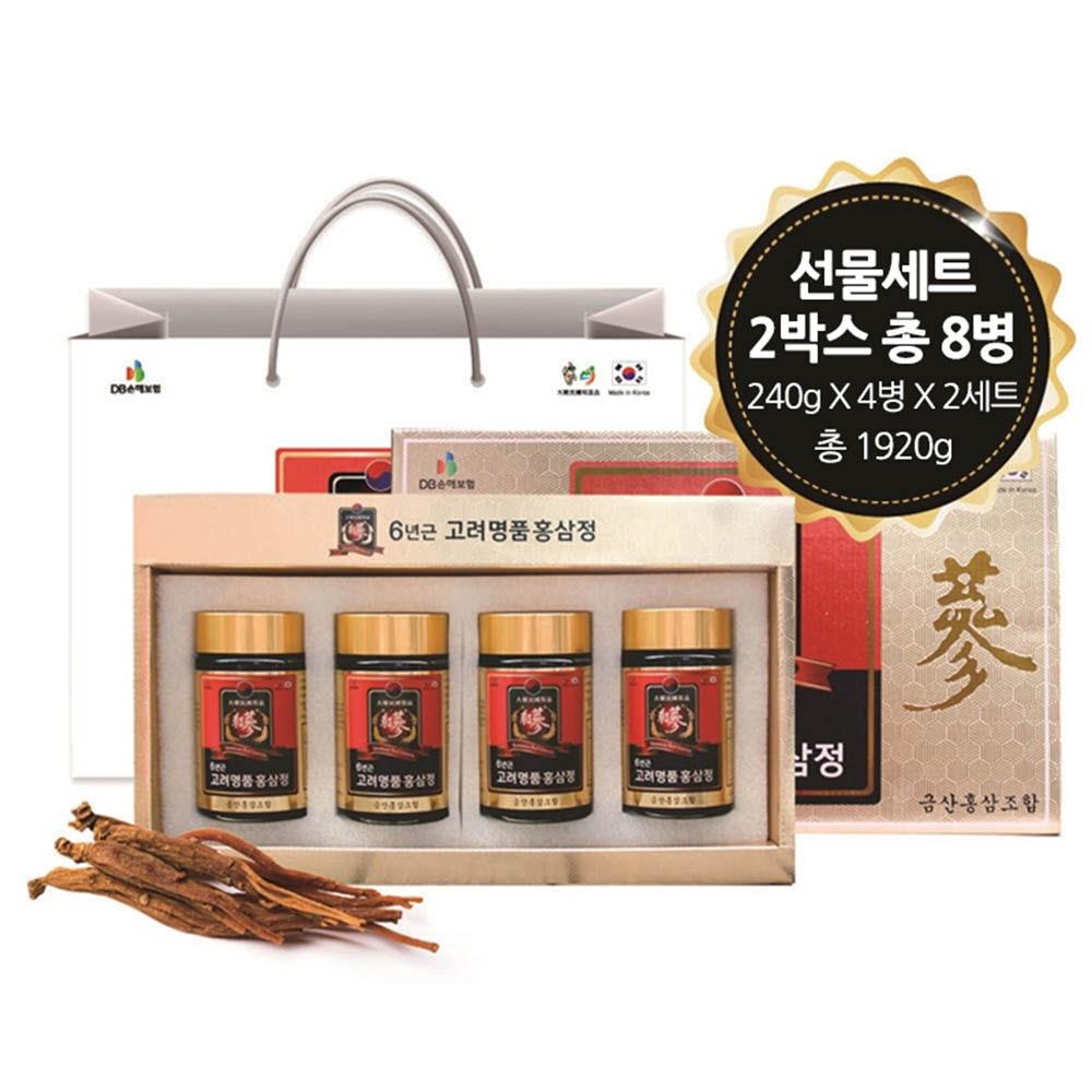 금산홍삼조합 6년근 고려명품 홍삼정 240g x 4병 1+1 / 쇼핑백 증정