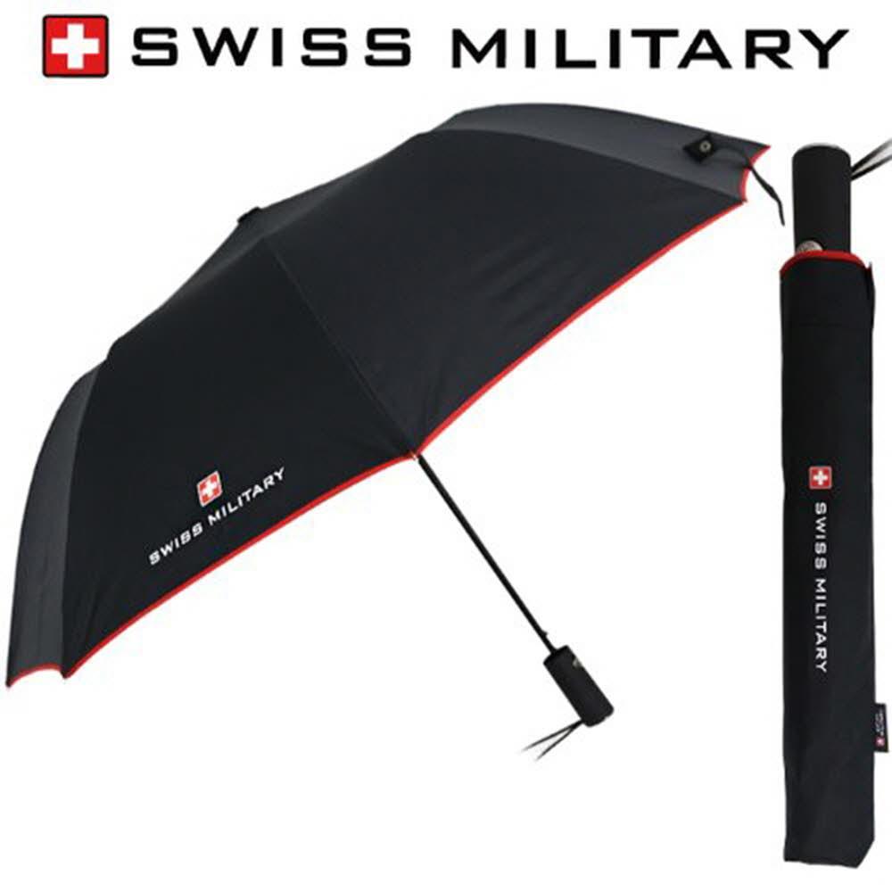 스위스밀리터리 2단자동 레드바이어스 우산