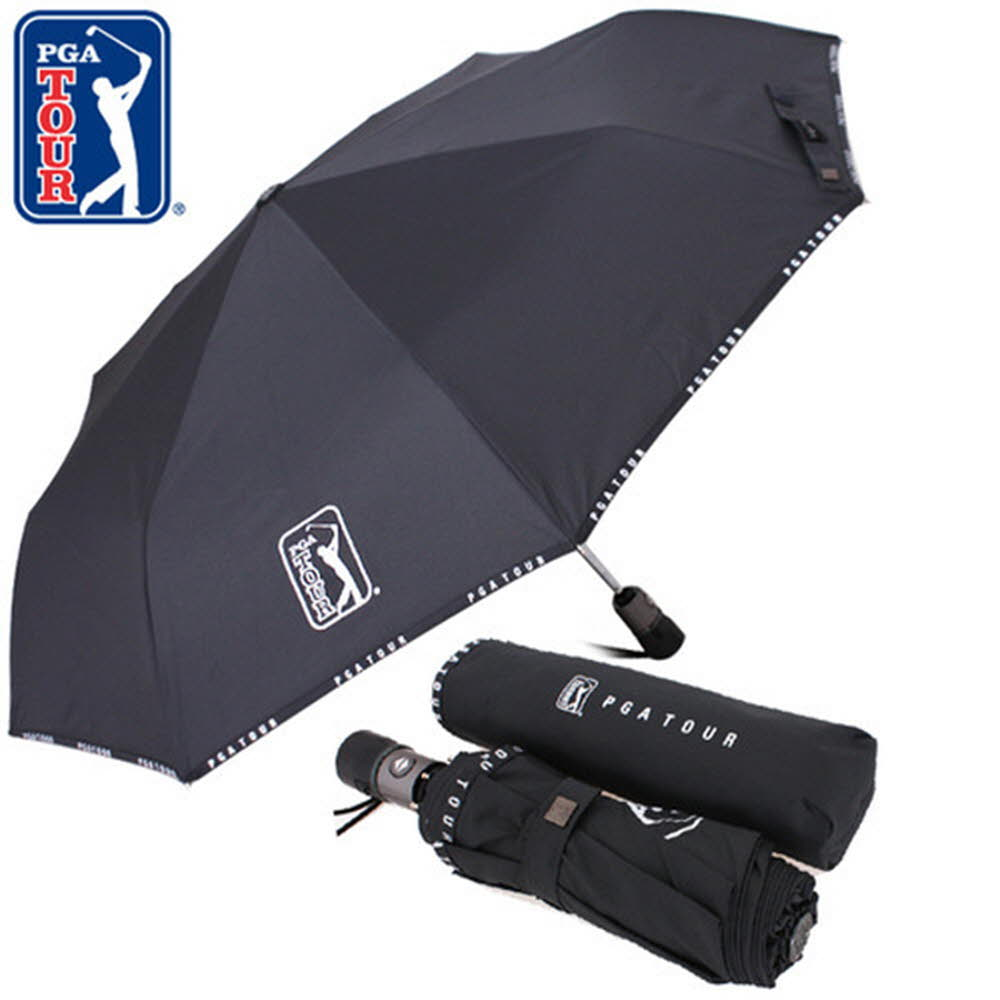 PGA 3단완전자동 로고바이어스 우산