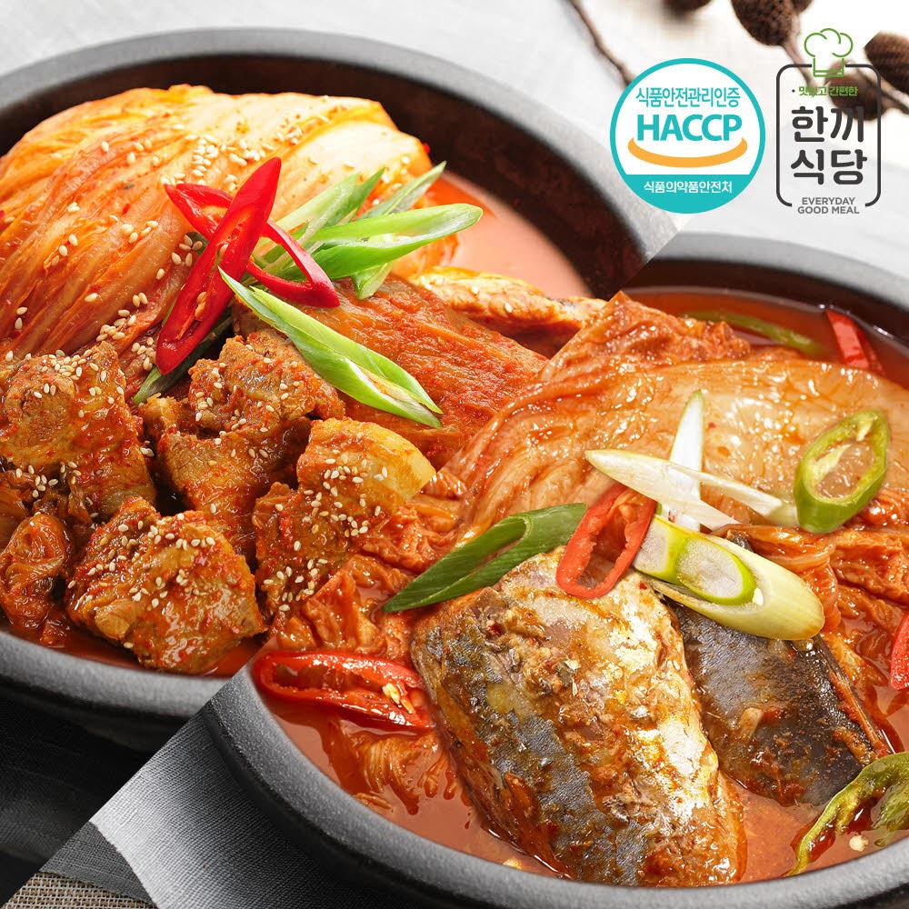 한끼식당 100% 국내산 찌개 실속세트-묵은지 김치찜860g+묵은지 고등어조림400g