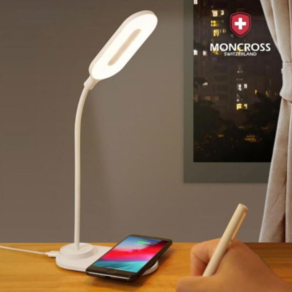 몽크로스 LED 스탠드(유선) 화이트 스마트폰 무선충전기능(MSLS-LW150)
