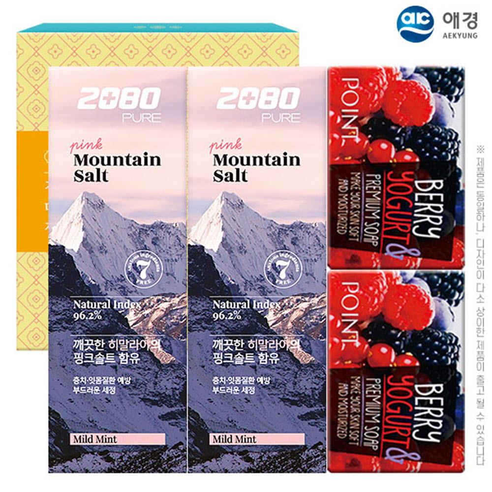 애경 2080히말라야핑크솔트치약100g2P 포인트베리비누2P(4종)
