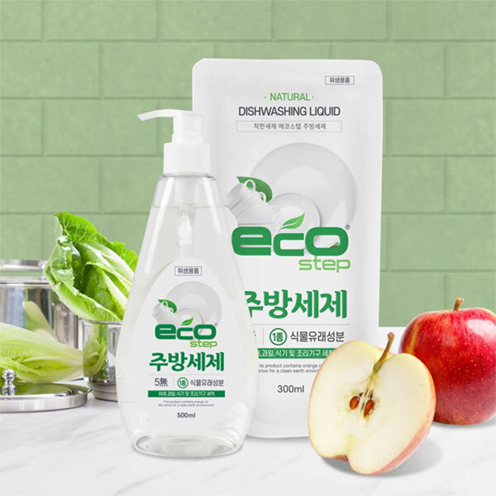 에코스텝 식기 과일세척 주방세제(본품 500ml + 리필 300ml)