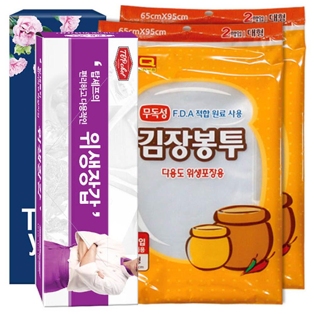 탑셰프위생장갑 김장봉투(대형)2매2P(3종)