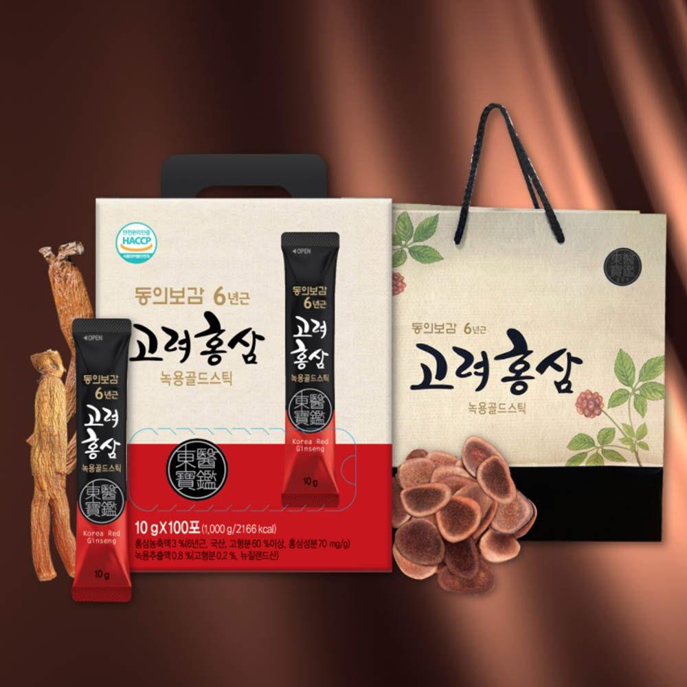 동의보감 6년근 고려홍삼 녹용골드스틱 10g 100포+쇼핑백