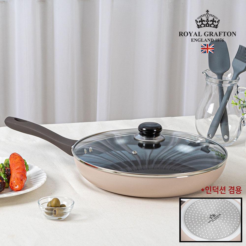 로얄그래프톤 크레마 인덕션겸용(IH) 28후라이팬+유리뚜껑 2P
