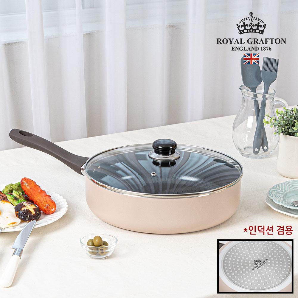 로얄그래프톤 크레마 인덕션겸용(IH) 28궁중전골팬+유리뚜껑 2P